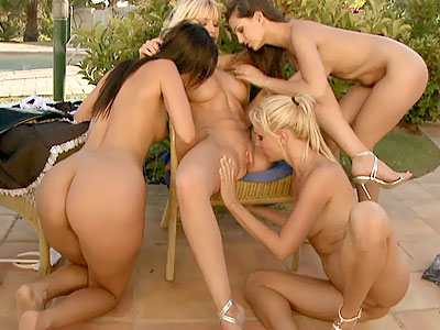Sandy and girlfriends outdoor licking from Club Sandy